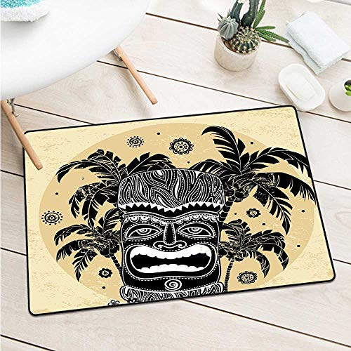 Mask 40' Tiki Bar Decor - Custom&blanket Tiki Bar Decor Inlet Outdoor Door Mat Tiki Mask Figure Palm Trees Ornate Flowers Sunny Summer Party Print Machine Washable Door Mat (W29.5 X L39.4 inch,Brown White Yellow)