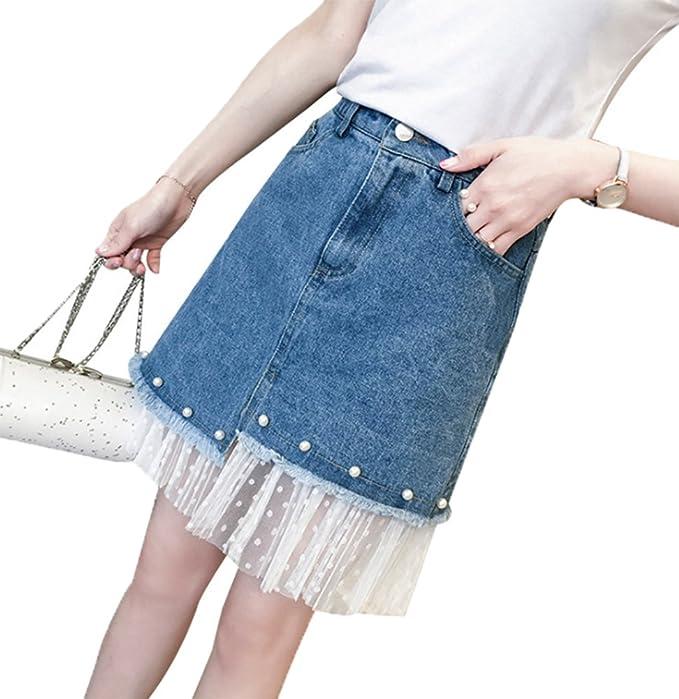 Keephen Faldas de Mezclilla para Mujer, Falda de Mezclilla con ...