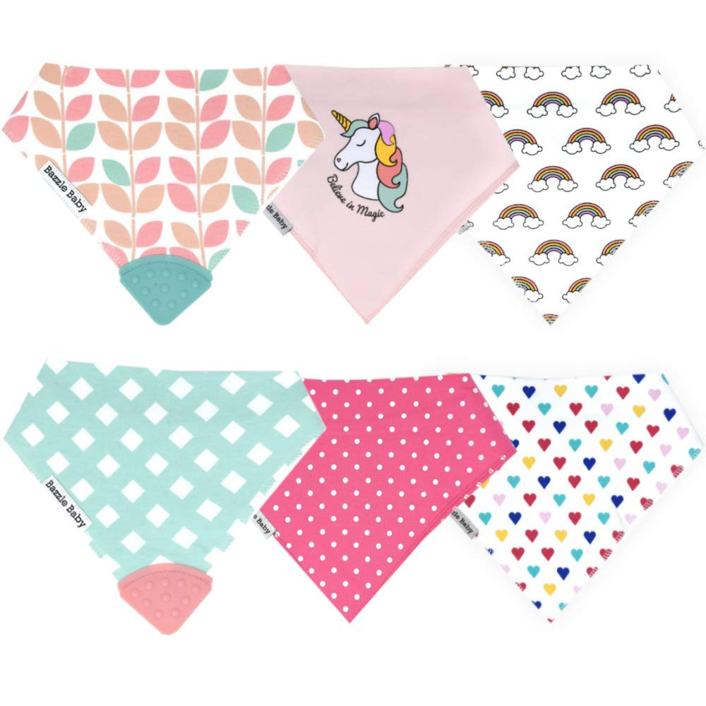 Drool Bibs w/Teethers for Natural Teething Relief, Bazzle Baby BPA-Free Silicone Teether Bandana Bibs, Girl Baby Bibs, 3 to 24 Months, Cotton & Fleece Soak Up Drool, 2 Teether Bibs & 4 Bandana Bibs