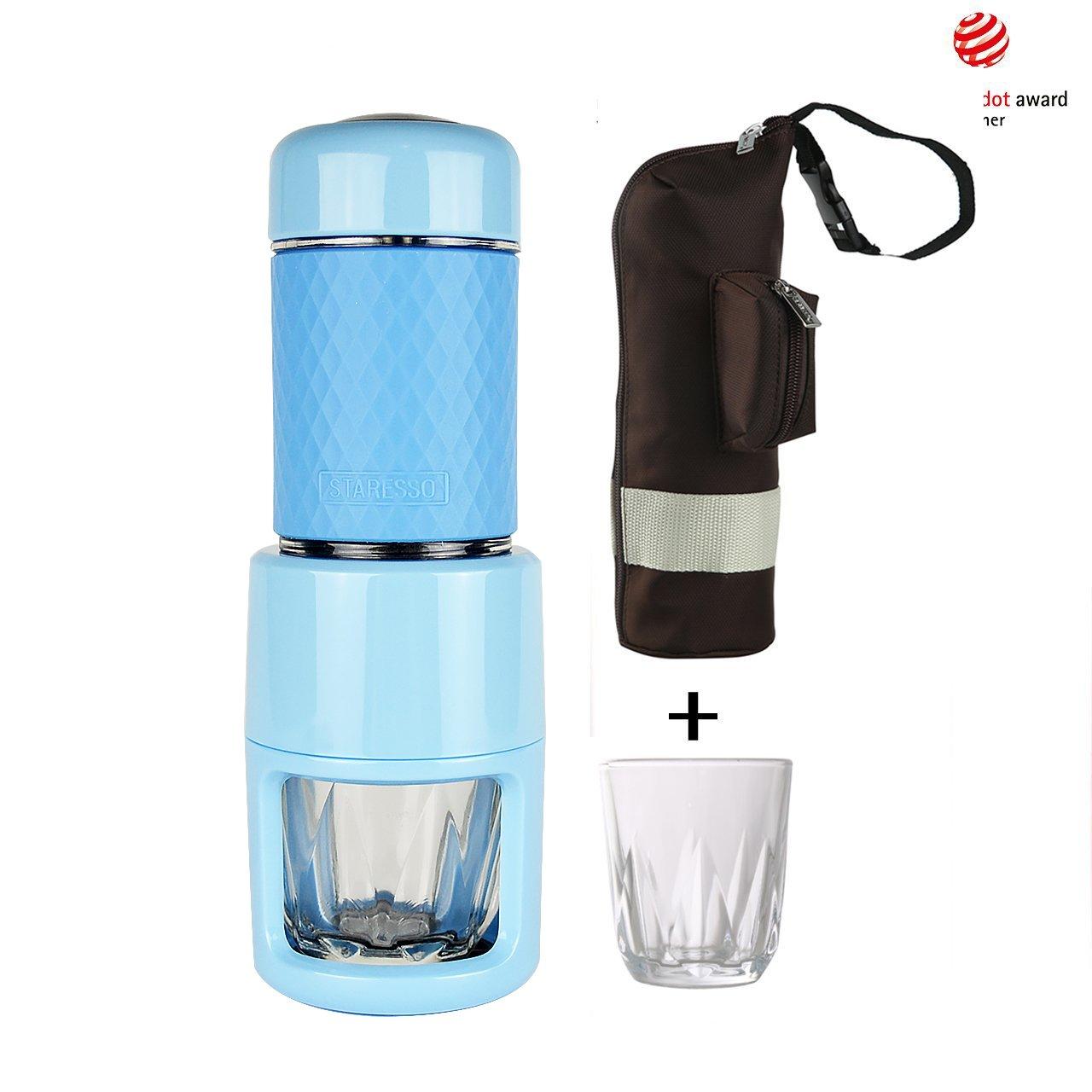 STARESSO Espresso Coffee Maker, Red Dot Award Winner Portable Espresso Cappuccino,Quick Cold Brew Manual Coffee Maker Machines All in One (Blue)