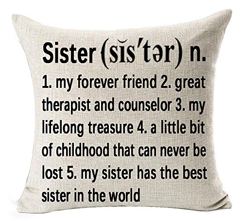 Sister Pillow Throw (Best Sister Gifts Warm Sayings Sister My Forever Friend Great Therapist And Counselor Explanation Words Letters Cotton Linen Throw Pillow Case Cushion Cover NEW Home Decorative Square 18 X 18 Inches)