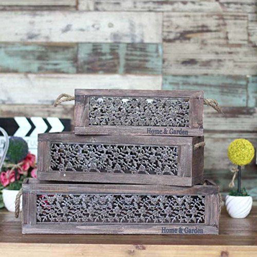 TongN Flower Rack American Style Village Three-Piece Flower Implement Storage Box Decoration Home Decoration (Color : Wood Color)