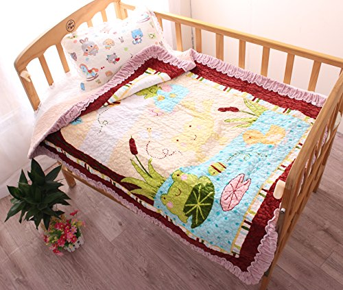 "J-pinno Happy Frog Cozy Velvet Cotton Quilt Bedspread Throw Blanket Gift for Toddler Baby Crib Bedding Coverlet, 35"" X 43"" (6) from J-pinno"