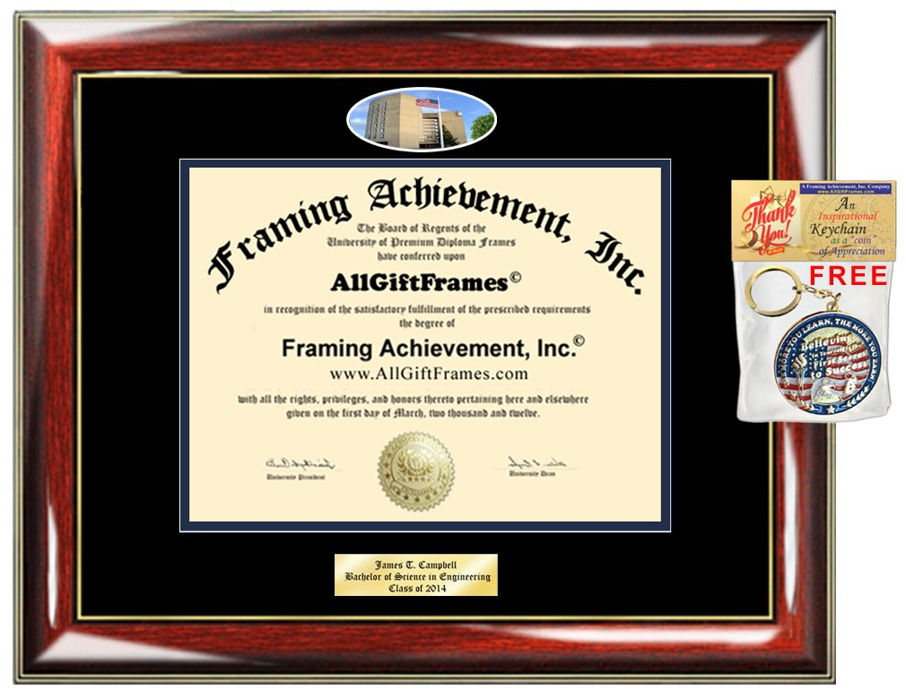 Diploma Frame Fredonia SUNY Fredonia Graduation Gift Idea Engraved Picture Frames Engraving Degree Plaque Certificate Holder Graduate Him Her Nursing Business Engineering Education