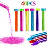 PROLOSO Sand Art Kit, Colored Sand Scenic Bottles Craft Set DIY Art Toy, 40 PCS, Best Children Prize Choice