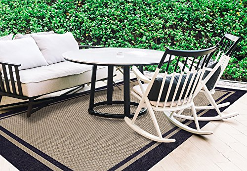 Brown Jordan Prime Label Outdoor Furniture Rug 8x10 Furman Collection Blue Sisal Woven Modern