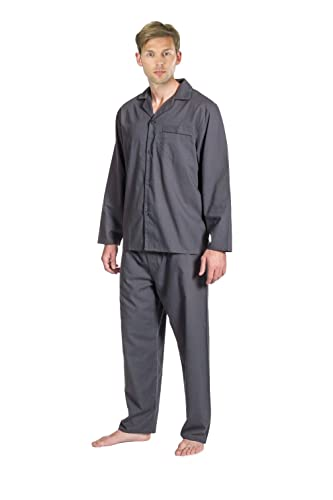 Para hombre tradicional de manga larga para pijama. Azul marino, gris o azul. Tallas S, M, L, XL, XXL: Amazon.es: Ropa y accesorios