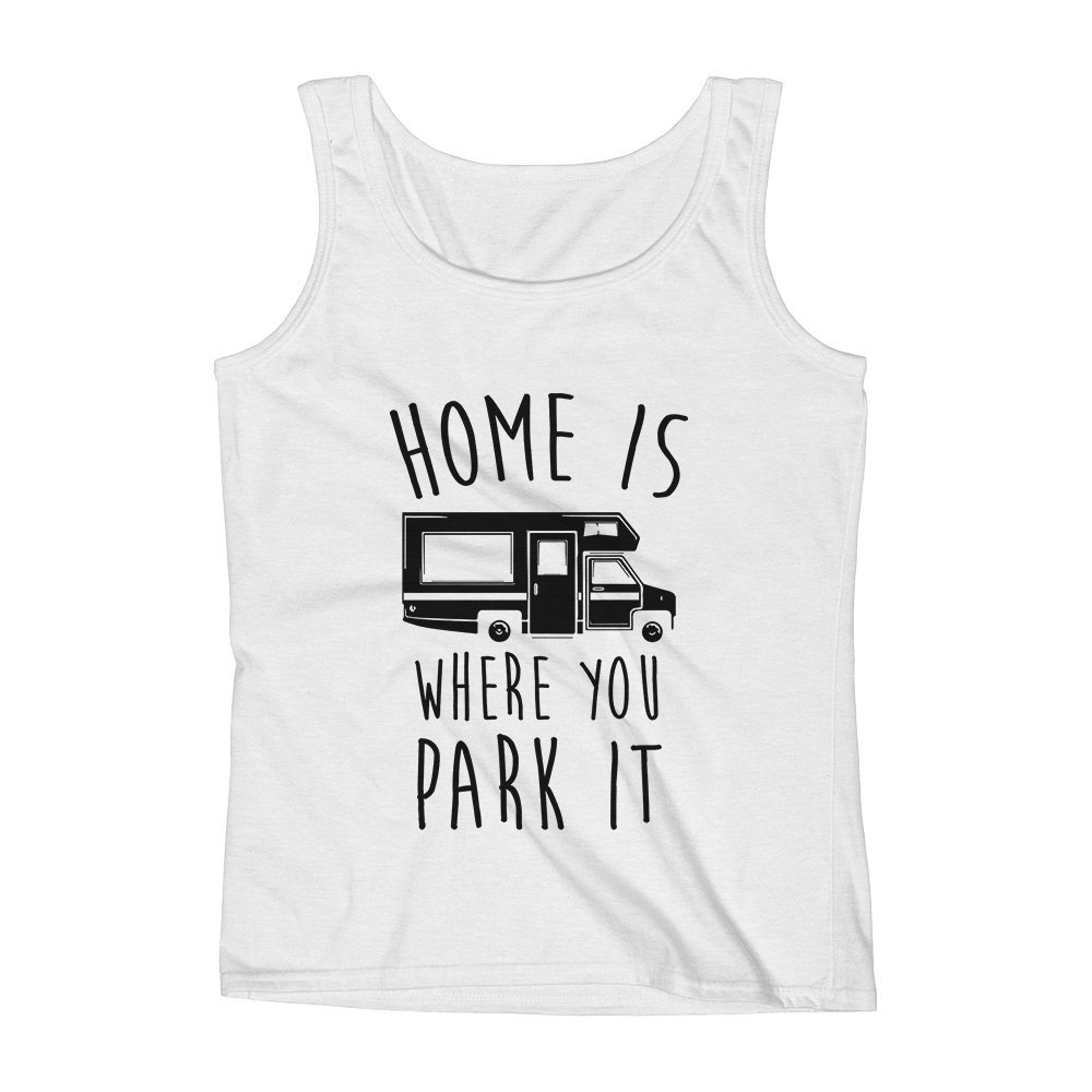 Mad Over Shirts Home is Where You Park It Rider Trucker Unisex Premium Tank Top
