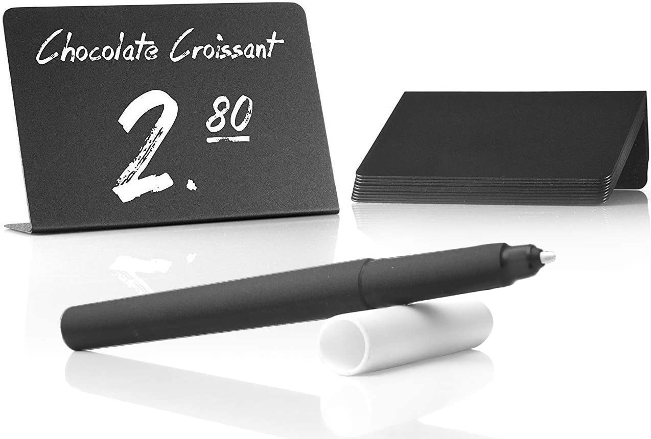 TOROS STORE Mini Chalkboard Signs with Liquid Chalk Marker - Easy to Write and Wipe Out - 10 Pack Small Plastic Message Board Signs - Food Labels for Party - Small Chalkboard - Mini Chalkboard Labels