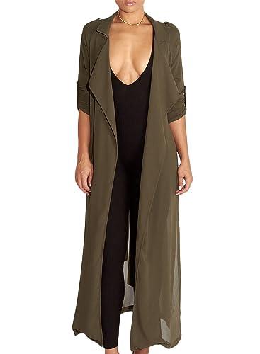 Azbro Mujer Moda Chaqueta de Gasa Mangas Largas de Color Sólido con Cinturón,ejército verde XL
