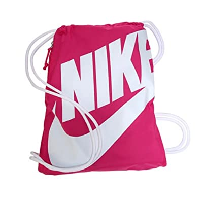 NIKE Heritage Drawstring Gymsack Backpack 400 Denier Sport Bookbag (Pink Power with White Signature Swoosh)