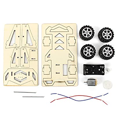 Wood Racing Car DIY Kit Kids Toy DIY Kit Electric Wooden Racing Car for Children Science and Technology Inventions Assembled Experiment DIY Model Building Kits: Home Improvement