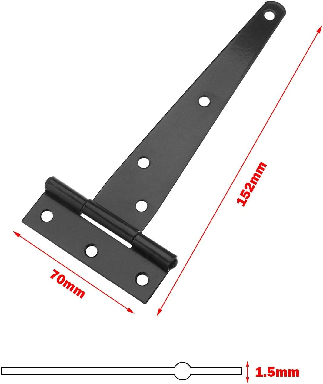OTOTEC Acero Inoxidable Juego de bisagras en T para Puerta de 4 Pulgadas // 5 Pulgadas // 6 Pulgadas 6 Pulgadas Color Negro