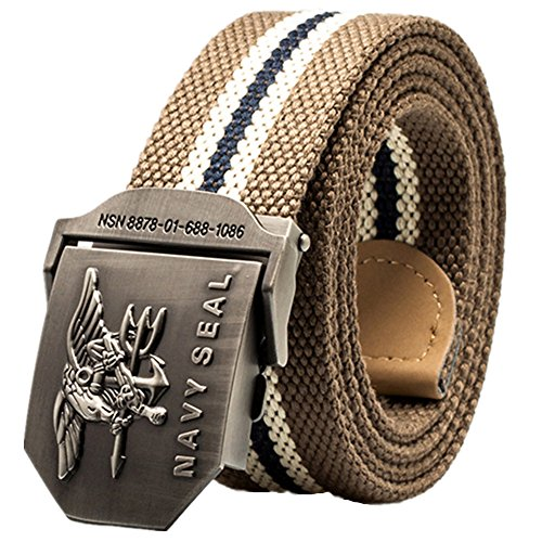 Sunsnow Men's Canvas Web Belt Military Style with Steel Buckle 47.2'' Long (120cm/47.2'', Dark Khaki Stripe)
