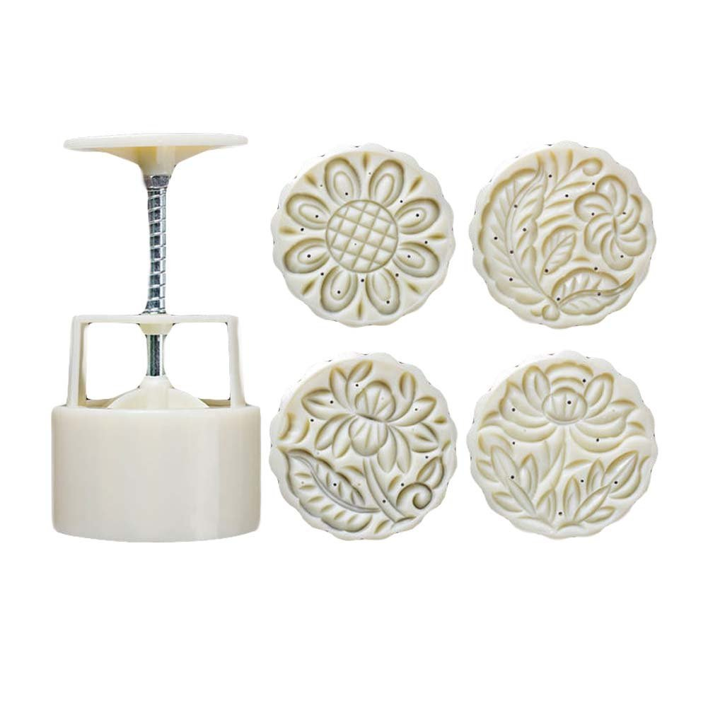 Moon Cake Mold 4 Cookie Stamps Flower Pattern Cookie Mold Pie Mold 125G TanQiang