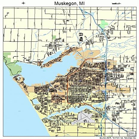 Amazon Com Large Street Road Map Of Muskegon Michigan Mi