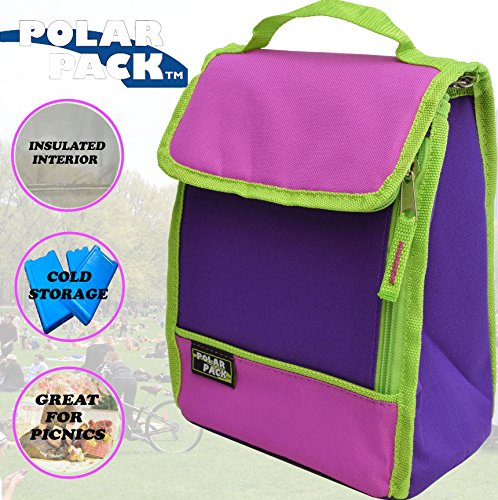 Fine Edge Trendy (POLAR PACK Insulated Lunch Bag Insulated Tote Bag Cooler Bag Side Zipper Pocket Handle Carry Insulated Picnic Bag Indoor Outdoor Carry Bag Portable Travel Bag for Beach & Work (PURPLE/RASPBERRY/LIME))