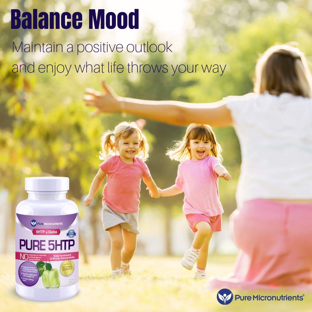 Pure 5-HTP (5-Hydroxytryptophan) Plus GABA - Serotonin Support for Sleep, Mood & Stress Management - 60 Veggie Caps - Pure Micronutrients