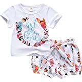 ASTRILL Baby Girls' 2pcs Outfits Short Sleeve T-Shirt Tops+Feather Shorts Clothes Set