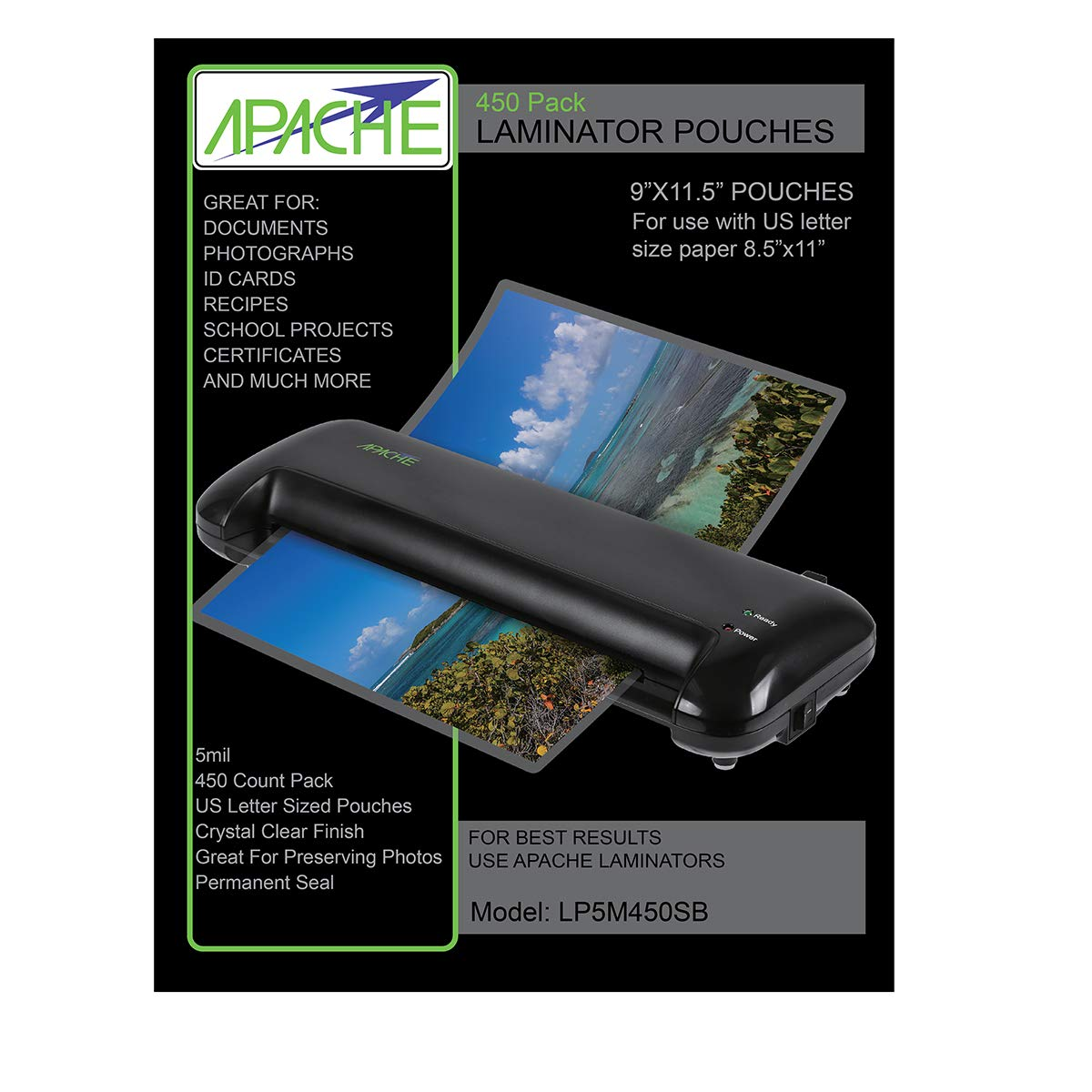 Apache Laminating Pouches, 5 mil (5mil, Letter, 450 Pack)