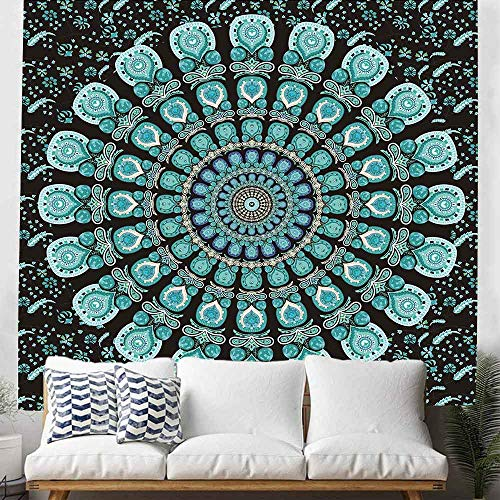 Mandala Tapestry Wall hanging College Dorm Tapestry Mandala peacock Tapestry Indian Hippie Tapestry Bohemian Bedspread Bedding Beach Tapestry decor (84×90Inches) DBLX052