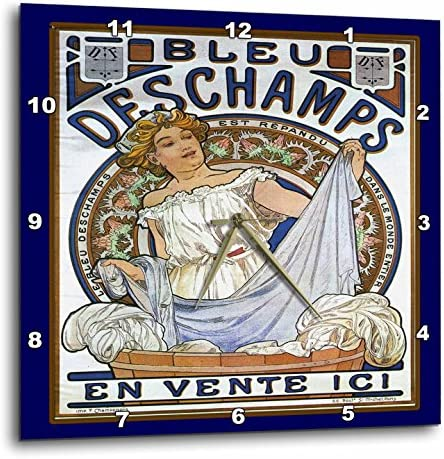 3dRose dpp_43812_3 Art Nouveau Lady with Laundry in Blues-Wall Clock, 15 by 15-Inch