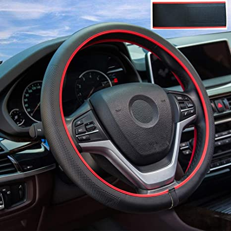 ZATOOTO Auto Lenkradabdeckung DIY Leder Lenkradabdeckung 38 cm mit Nadel und Faden Rot A