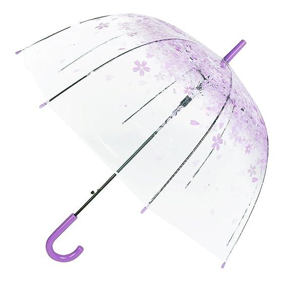 Paraguas transparente - Paraguas Sakura - Paraguas de cerezo claro - Paraguas de burbuja para lluvia Paraguas de lluvia - Paraguas automático para Señoras ...