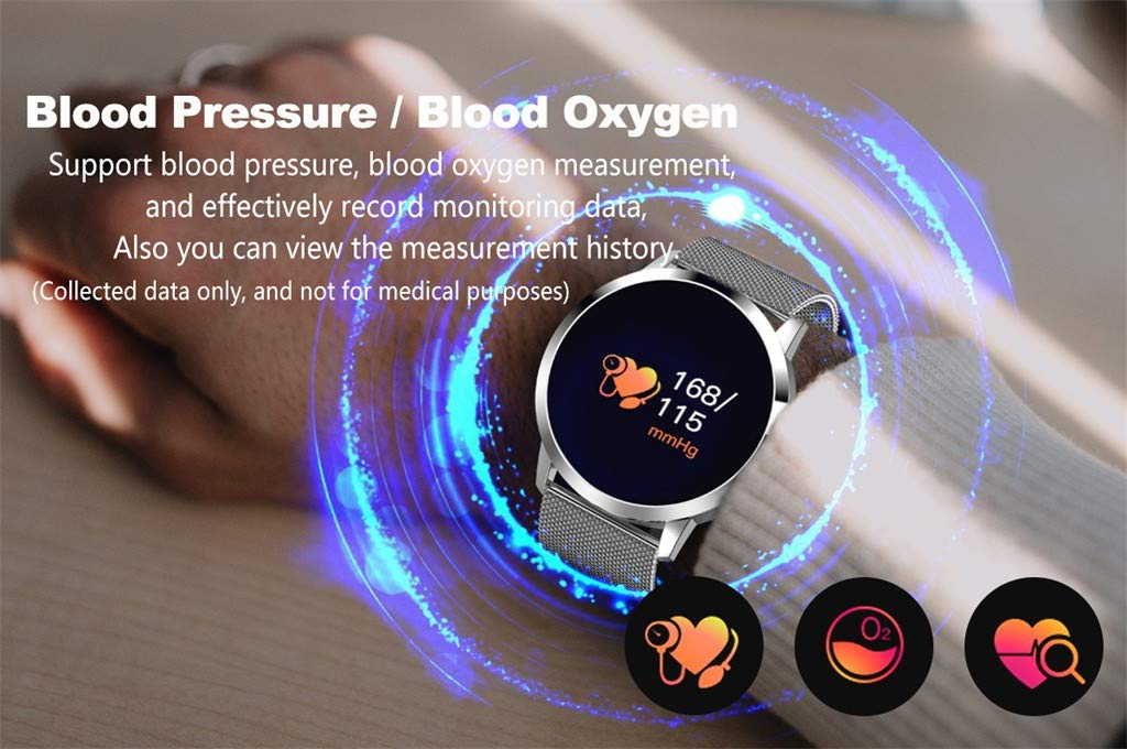 Cywulin Fitness Tracker IP67 Waterproof Smartwatch, Heart Rate Blood Pressure Oxygen Sleep Monitor Activity Tracker Pedometer Calorie Outdoor Sport Bracelet for Android iOS Kids Men Women (Silver) by Cywulin (Image #3)