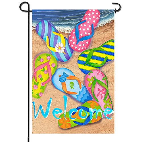 Anley |Double Sided| Premium Garden Flag, Flip Flops on Summer Beach Welcome Decorative Garden Flags - Weather Resistant & Double Stitched - 18 x 12.5 Inch