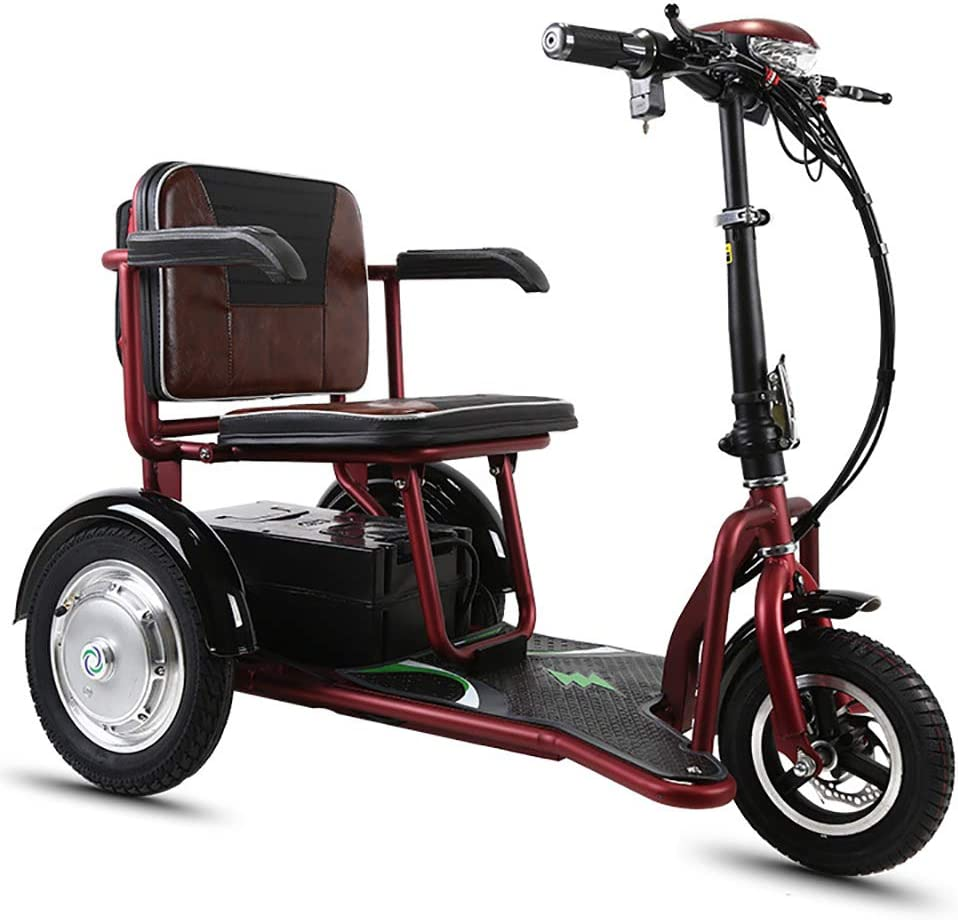 LCPP Triciclo eléctrico Plegable portátil, Scooter de Edad Avanzada Triciclo eléctrico Scooter 250W20AH Resistencia para Adulto 60 km discapacitados Ancianos Viajes al Aire Libre