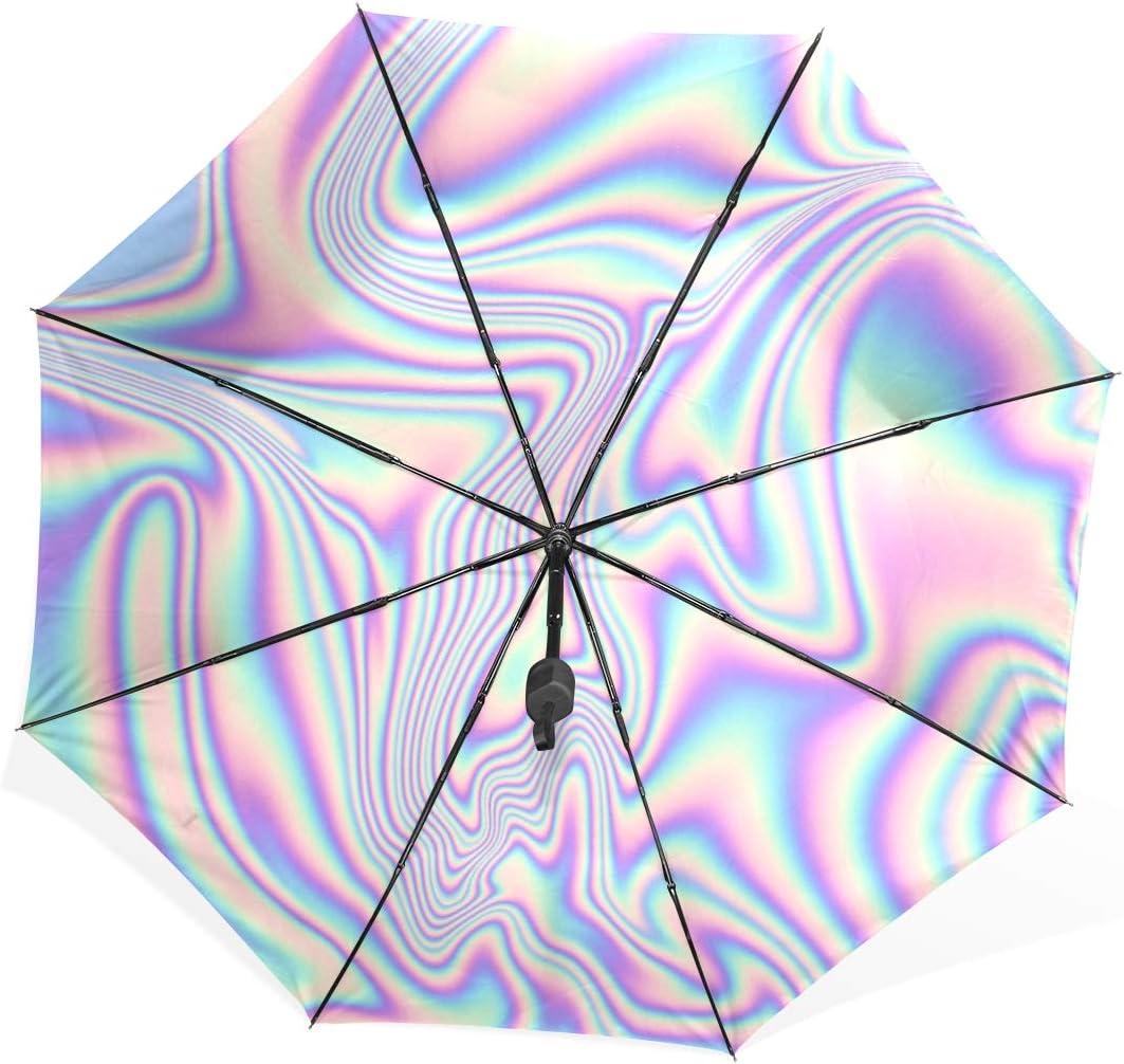 ATHG Automatic Tri-Fold Umbrella 3D Printed Galaxy Bear Sunset Rainbow Waterproof Windproof Uv Protection Rain Umbrellas Inside Print for Outdoor Daily Use