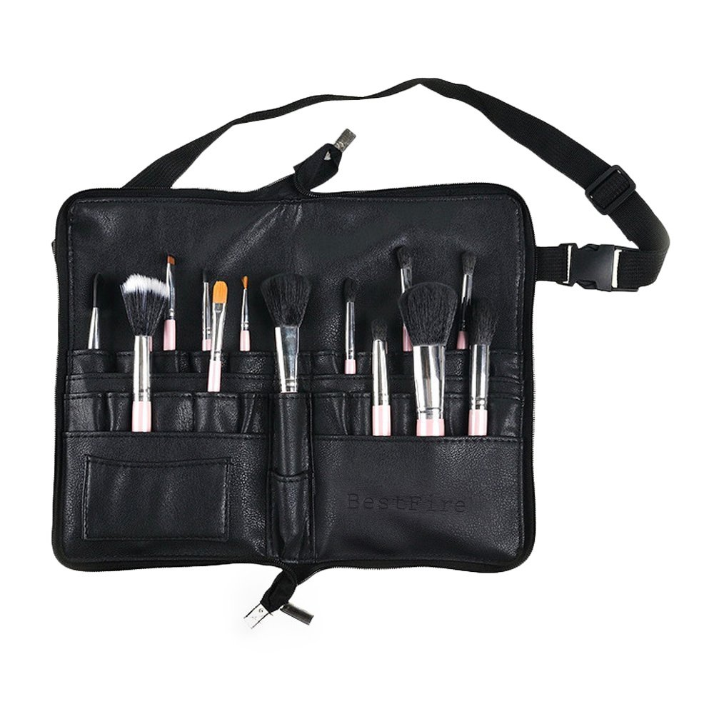 BestFire Professional Makeup Brush Bag Case Portable 22 Pockets Cosmetic Brush Holder Organizer with Artist Belt Strap PU Leather(Brushes Not Included) LYSB01LW54FOX-OFFSUPPLIES