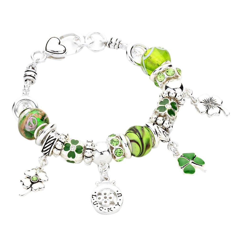 Rosemarie Collections Women's Irish Lucky Clover Glass Bead Charm Bracelet