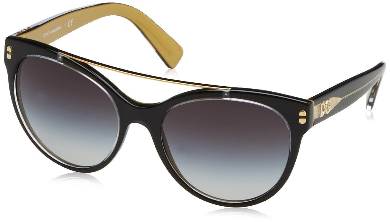 Dolce & Gabbana Women's 0dg4280 Round Sunglasses, Top Black on Gold, 57 mm