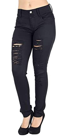 33e5fb81ba0e3 Jack David Wax Jeans Womens Plus Size High Waist Distressed Ripped Blue  Denim Skinny Jeans