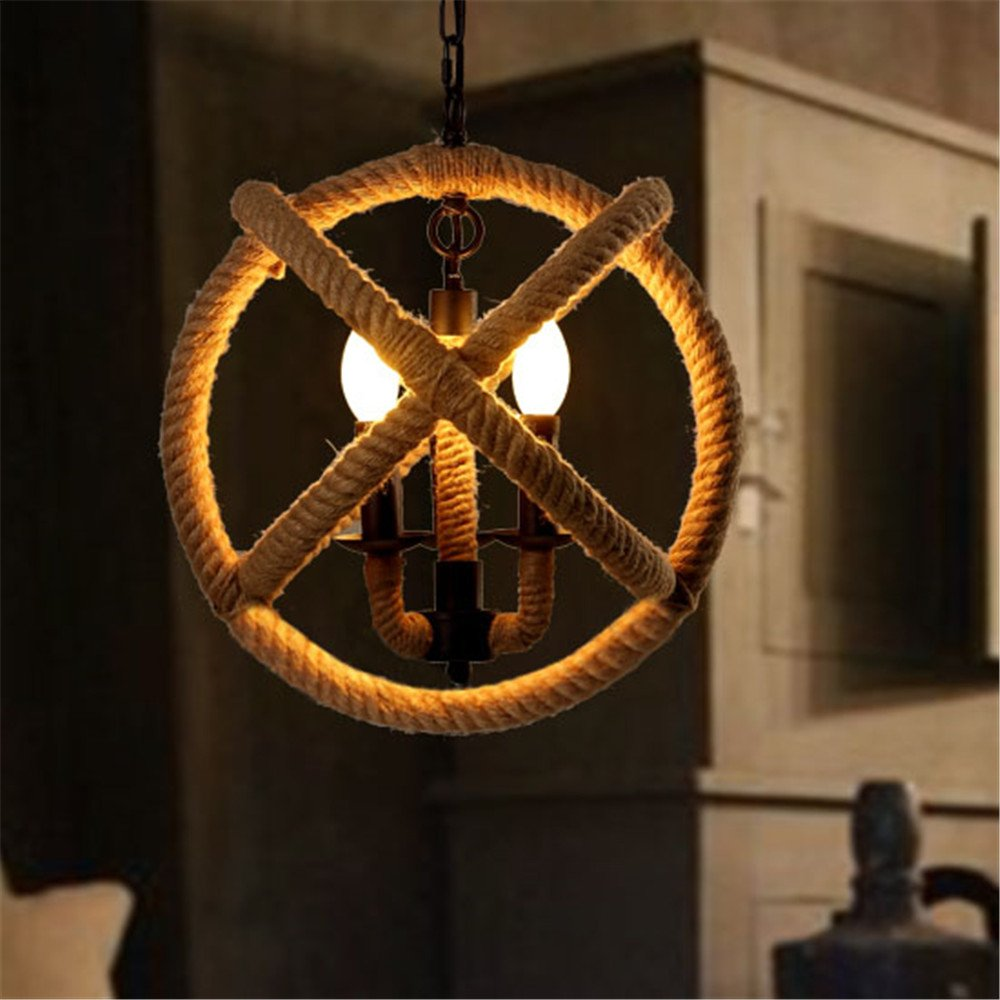 BAYCHEER HL371869 Industrial Retro Style Metal Hemp Rope Globe Cage Round Pendant Lamp Fixture Pendant Light Chandelier with 3 E12//14 bulbs