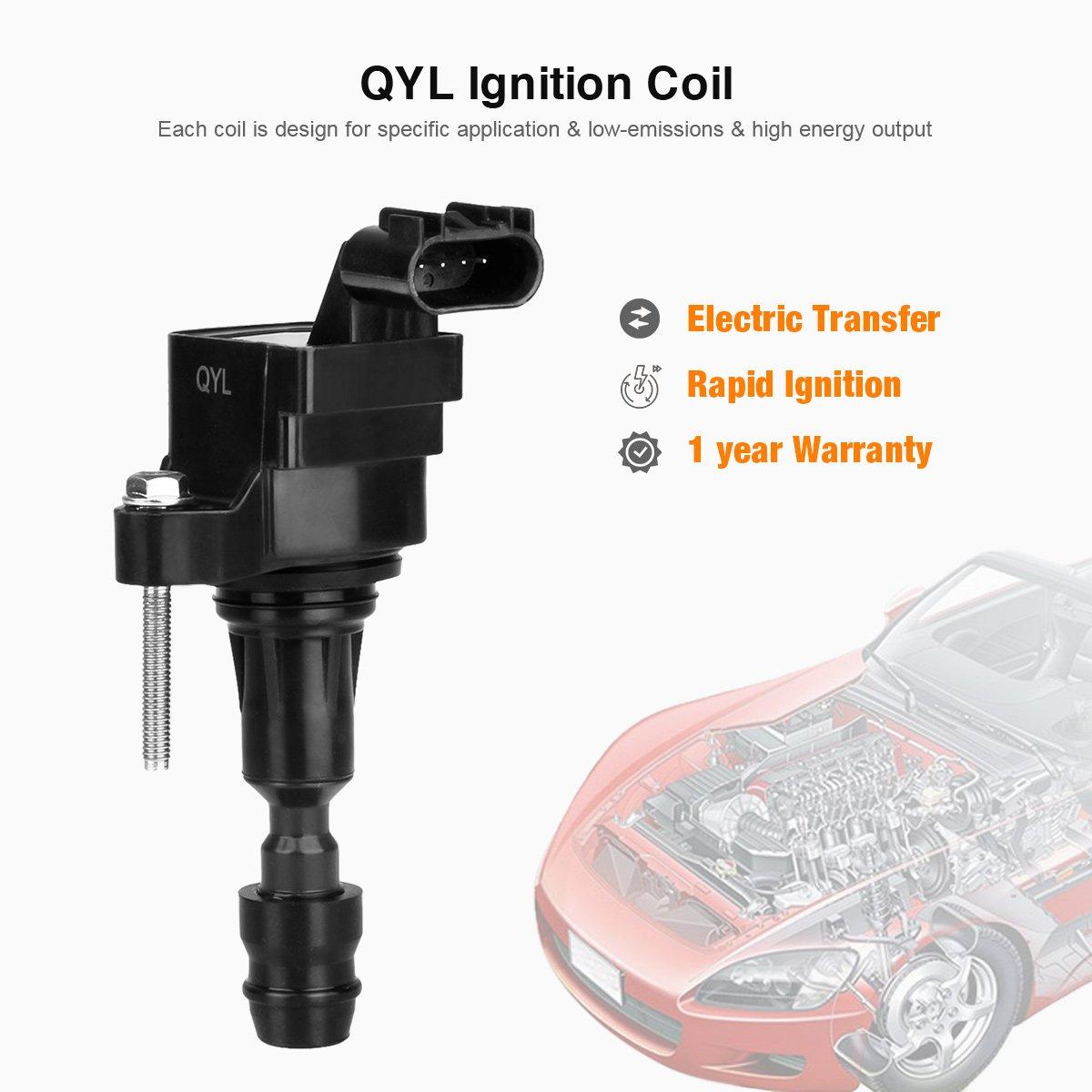 QYL Pack de 4 bobina de encendido para Chevrolet GMC Pontiac Saturn Saab cobalto Equinox Malibu HHR G5 G6 Aura Vue C1552 UF491 d522 C uf-491: Amazon.es: ...