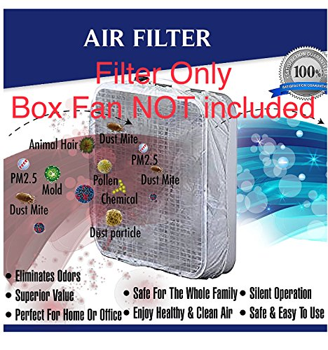 nwe box fan filter for 20 inch box fans including fasteners, 60 day filtration (set of 2): box fan not included