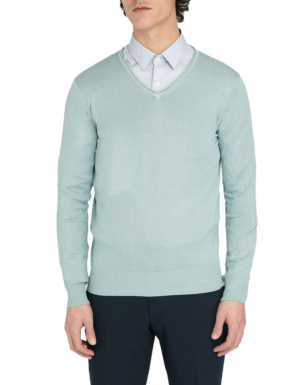 M.Studio - V-neck Sweaters - Men - Renaud storm grey V-neck cotton sweater for men