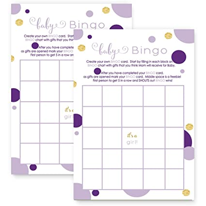 amazon com purple and gold baby shower bingo game card set of 25
