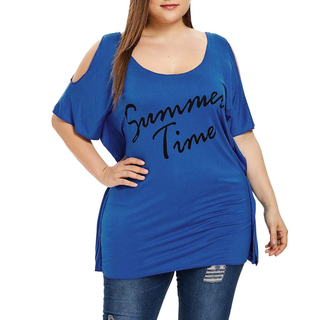 Bohelly Selling New Women's Summer Large Size Casual Off-Shoulder Top Print Letter Shirt Fashion Jacket Blue