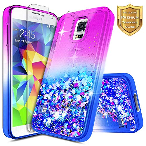 Galaxy S5 Case w/[Tempered Glass Screen Protector], NageBee Glitter Liquid Quicksand Waterfall Floating Flowing Sparkle Shiny Bling Luxury Clear Girls Cute Case -Purple/Blue