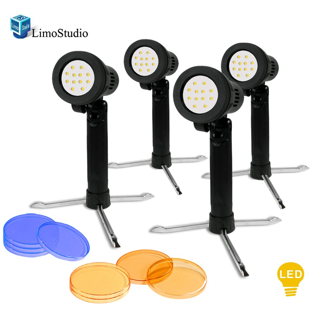 LimoStudio 4 Sets Continuous LED Portable Light Lamp for Table Top Studio with Color Filters, Photography Photo Studio, AGG1801