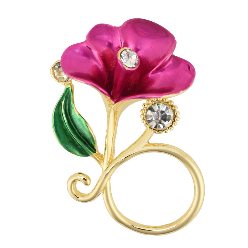 PANGRUI Exquisite Delicate Flower with Crystals Magnetic Eyeglass Holder Brooch Pin PR-EH0561L