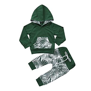 810755b63 Voberry Newborn Toddler Baby Boys Girls Clothes Set Leaf Hoodie Tops ...