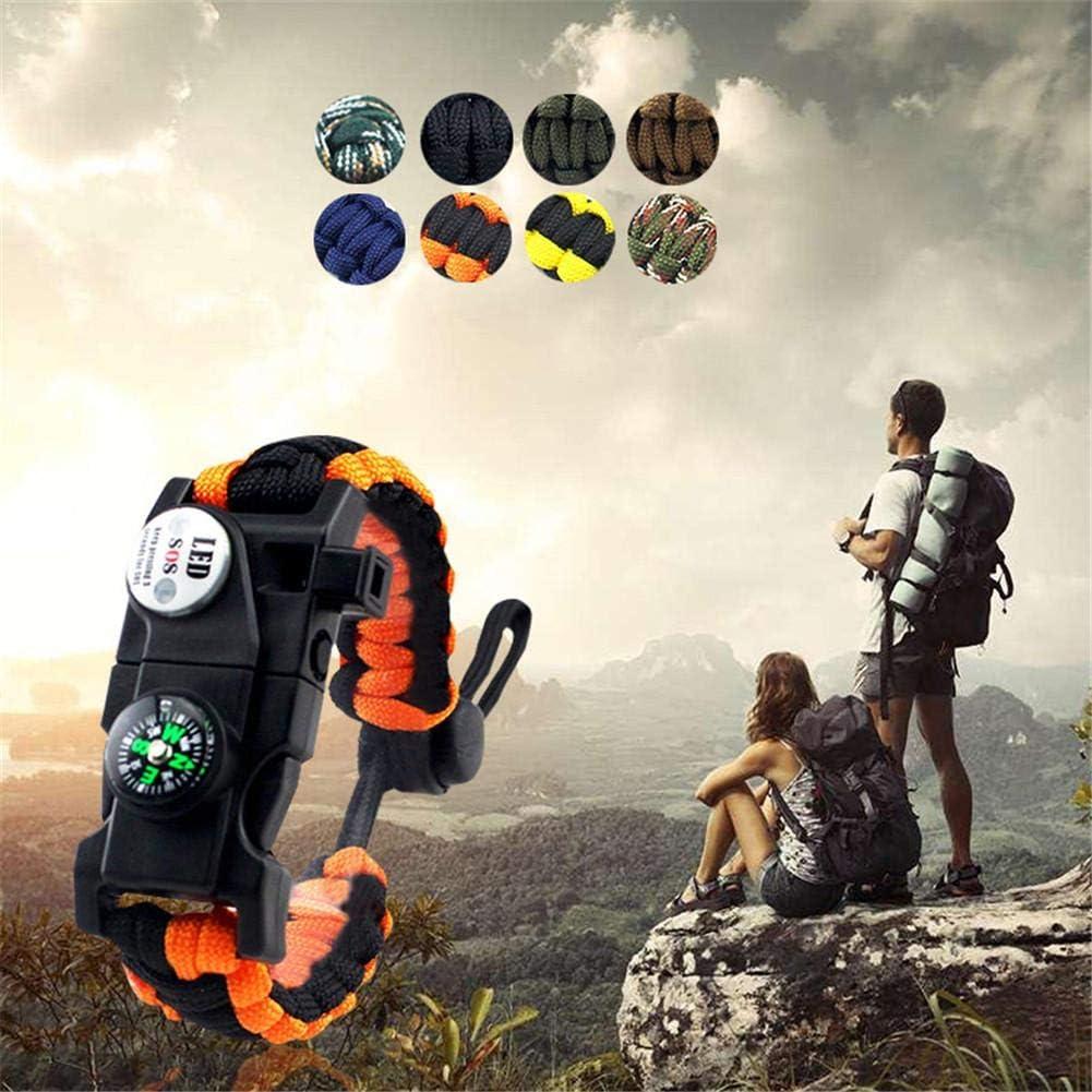 Backpacker Explorers Hiker Alacritua Survival Bracelets Paracord Survival Kits With Flint//Compass//Whistle//LED Light For Man Woman Outdoor