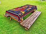 ''Lunarable Mexican Outdoor Tablecloth, Aztec Culture Pattern Ethnic Colorful Mythology Artwork Ancient Snake, Decorative Washable Picnic Table Cloth, 58 X 84 Inches, Indigo Mustard Orange''