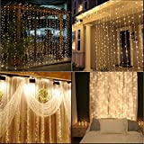 Safe Curtain Lights 9.8ft 300led Window Curtain Icicle Lights, Waterproof Christmas Curtain String Fairy Wedding Lights for Outdoor Party Home Kitchen Curtains Window Decorations - Warm White