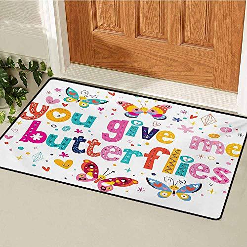 GUUVOR Butterfly Universal Door mat Love Valentines Quote Hearts Happy Butterflies Flowers Romantic Cartoon Print Door mat Floor Decoration W19.7 x L31.5 Inch Multicolor